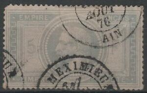 FRANCE-STAMP-TIMBRE-N-33-034-NAPOLEON-III-5F-VIOLET-GRIS-034-OBLITERE-MEXIMIEU-K541