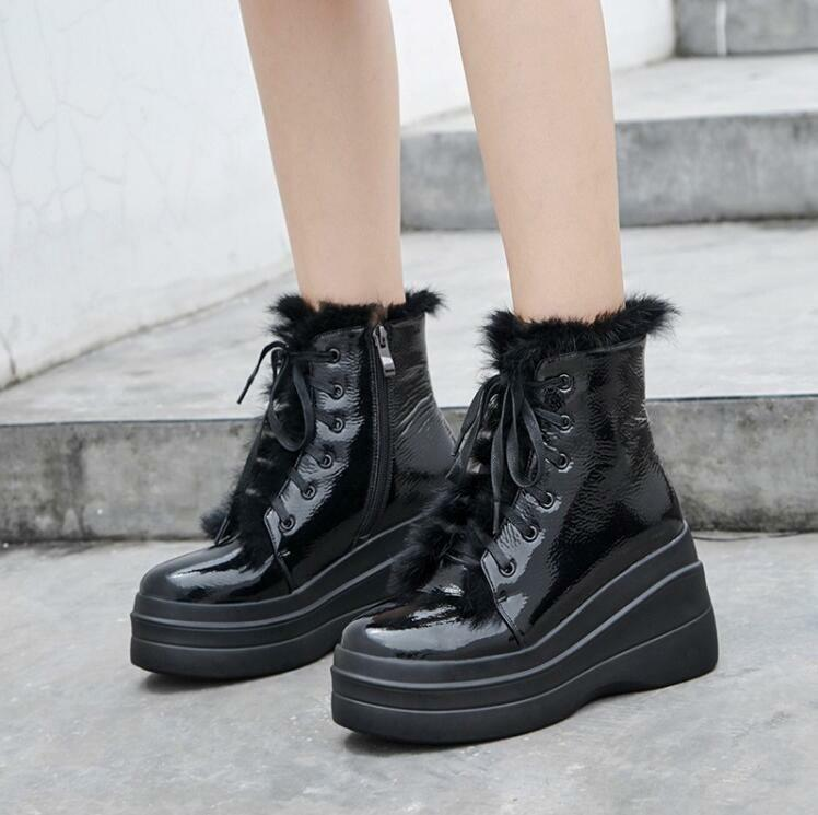 Womens Fur Lined Winter Warm Ankle Boots Lace Up Winter Shoes Wedge High Heels U