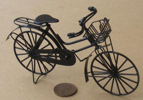 1:12 Scala Nero Metallo Donna Bicicletta con Cestino Tumdee Bambole Casa Garden