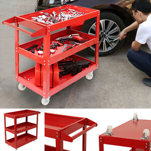 RED-Tool-Storage-Heavy-Duty-Garage-Trolley-Workshop-DIY-3-Tier-Wheel-Cart-Shelf
