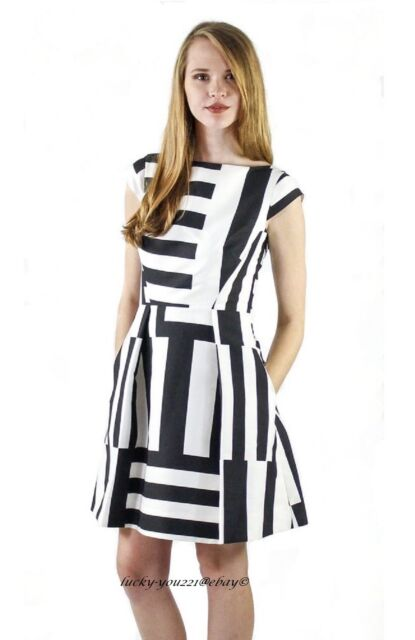 Kate Spade Black White Multi Stripe Kite Bow Cutout Back Dress 2