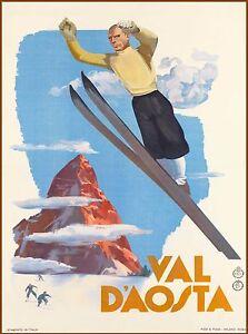 Val D'Aosta Aosta Valley Ski Italy Italian Vintage Travel Advertisement Poster