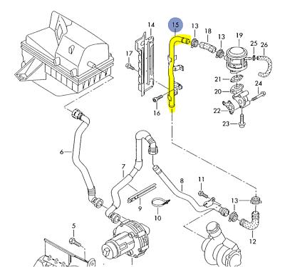 Audi Vw A4 Passat 2001 06 1 8t Air Supply Tube To Combi Valve 06b133607b Ebay