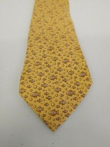 Hermes-Paris-France-5035-100-Silk-tie-Yellow-Fish-62-034-Necktie