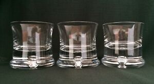 3-Modern-KROSNO-Danish-Design-Poland-Bubble-Bottom-Heavy-Base-Whiskey-Glasses