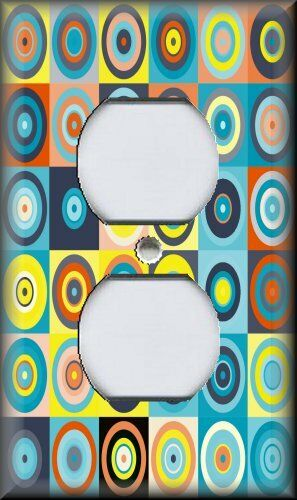 Bright Dots Blue Yellow Modern Decor Abstract Art Light Switch Plate Cover
