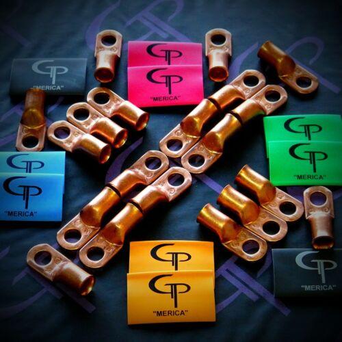 1//0 AWG Gauge Copper Lugs w// GREEN /& BLACK Heat Shrink Ring Terminals 10