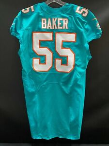 """#55 JEROME BAKER MIAMI DOLPHINS TEAM ISSUED AQUA """"SAMPLE"""" JERSEY SIZE 46"""