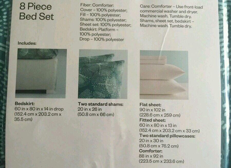 ROOM ESSENTIALS 8-Piece 8-Piece 8-Piece Queen Bed Set; Comforter, 2 Shams, Sheet Set, Bedskirt 1f9802