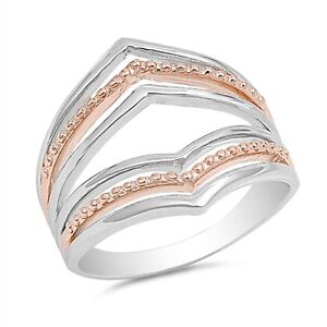 Sterling Silver 925 PRETTY INFINITY HEART ROSE GOLD PROMISE RING 9MM SIZES 5-10