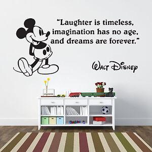 Vinilos Mickey Mouse Para Pared.Detalles De Mickey Mouse Risas Citas Pared Calcomania Adhesivo Vinilo Artistica Mural Decoracion Para El Hogar Ver Titulo Original