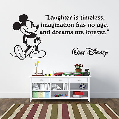 Disney Mickey Mouse Laughter Quote Wall Decal Sticker Art Vinyl Mural Home Decor