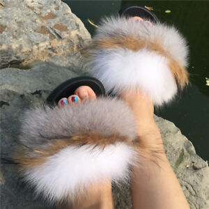 dc2e96449e23 Women s Real Fox Raccoon Fur Slippers Sandals Shoes Fur Slides ...