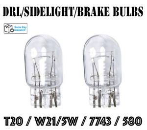 2x T20 W21//5W DUAL FILAMENT BULBS DRL SIDELIGHT BRAKE VAUXHALL FIAT MERCEDES