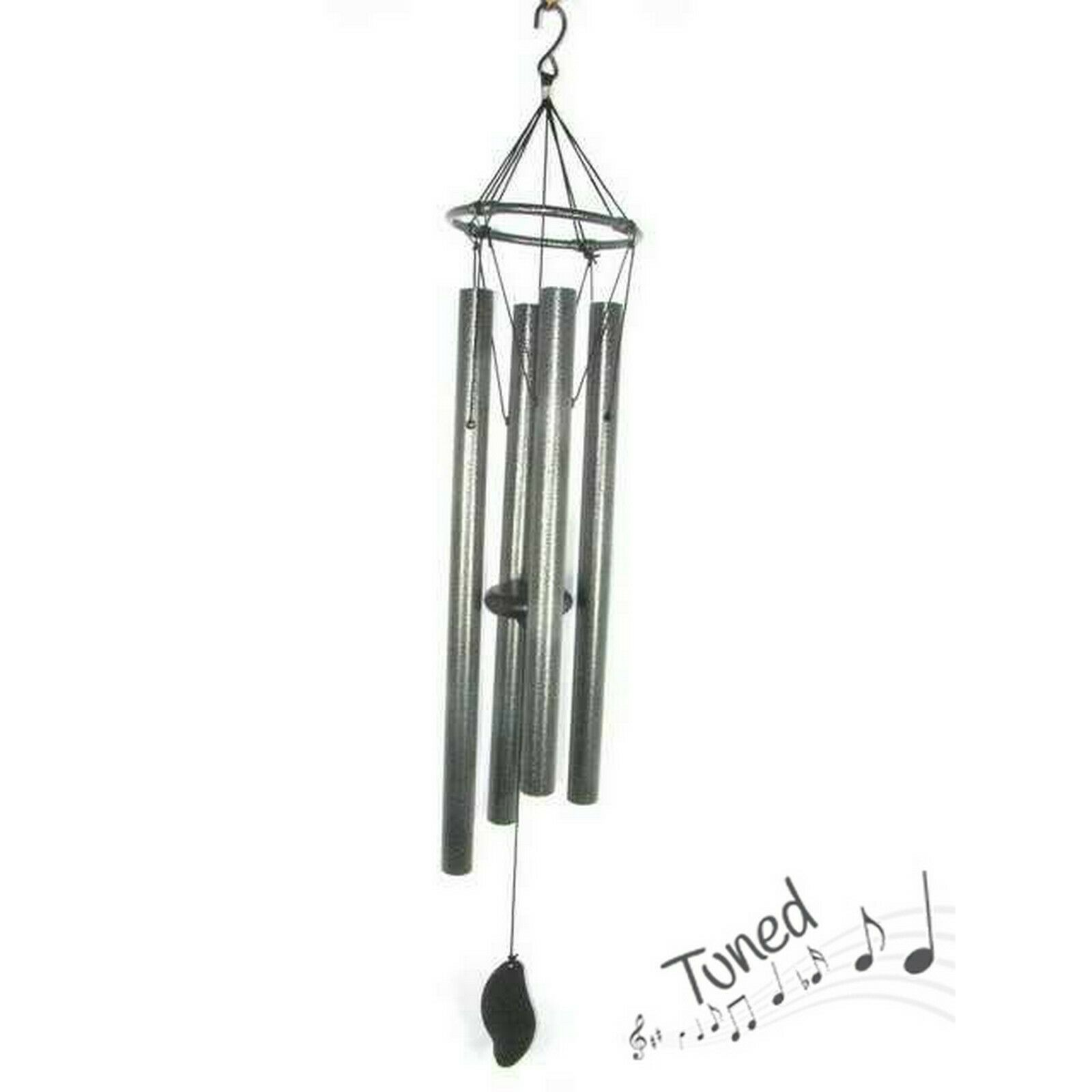 85cm Natures Melody Classic Tuned Silver Metal Musical Wind Chime 4 Tube Large