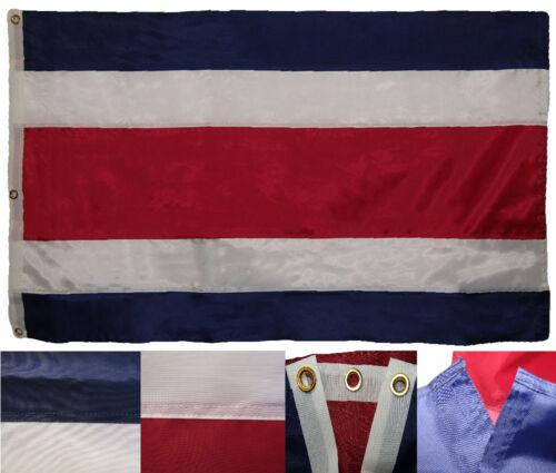 3x5 Embroidered Sewn Costa Rica Plain Premium Quality 300D Nylon Flag 3/'x5/'