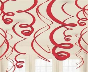 Pack-of-12-Red-Swirls-Hanging-Party-Decorations-Parties-amp-Events-New-amp-Sealed