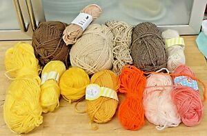 Knitting-Yarn-Wool-Lot-300g-Yellows-Oranges-Creams-Brown-Beige-Crafts-Crochet-6N