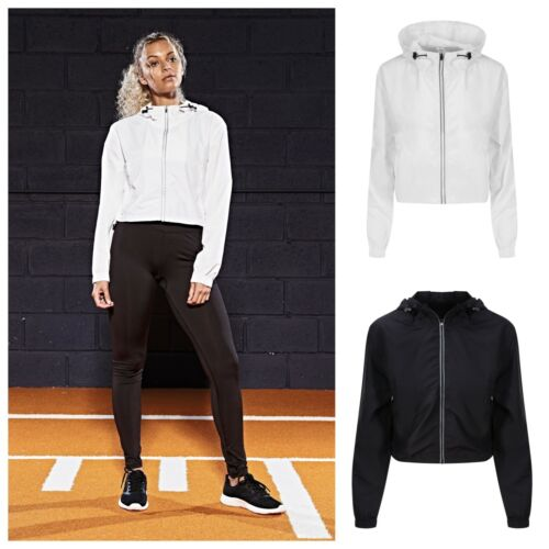 Womens Ladies Reflective Long Sleeve Cycling Running Sports Hooded Jacket Zip