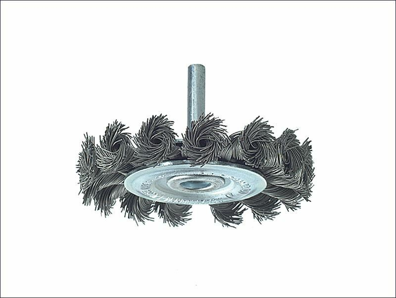 Lessmann - Knotted Wheel Brush with Shank 75 x 8mm 0.50 Steel Wire