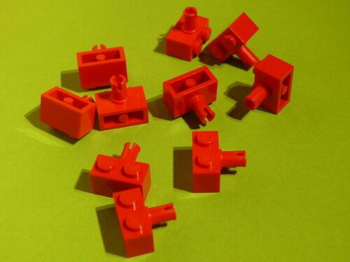 Lego 10 briques avec clip rouge set 4226 6456 2507 76006 //10 red brick modified