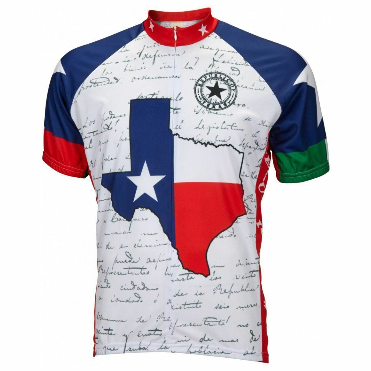 Texas Lone Star State courte sleeve 16  zip hommes cycling jersey