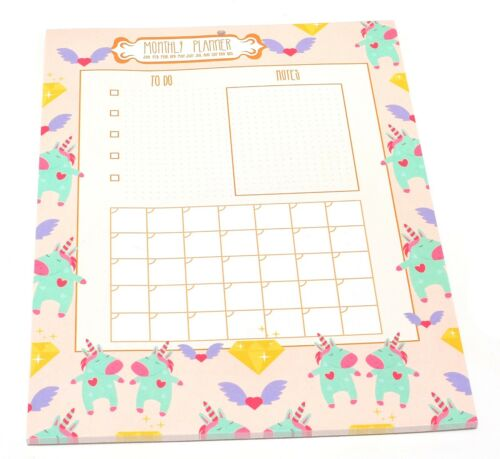 A4 Cute Unicorn Design Desk Monthly Planner /& Shopping List Week Pad Sheets