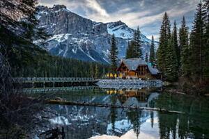 G1282 канадский гор мост озера расположен национальный парк ламинированный плакат Великобритания