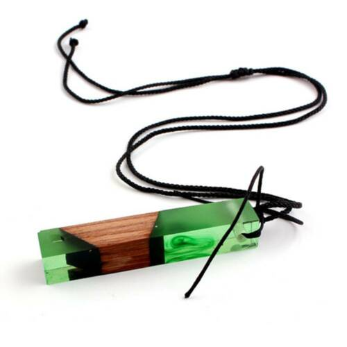 Fashion Handmade Resin Wood Necklaces Pendants Long Rope Wooden Jewelry