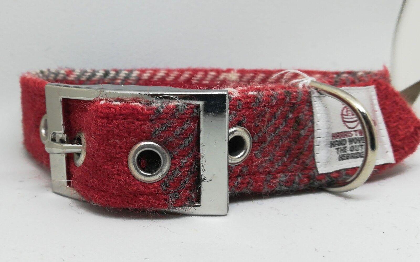 Harris Tweed CHECK Rosso Rosso Rosso Collare per Cani, piombo, Accessorio Poo Bag Set eff81c