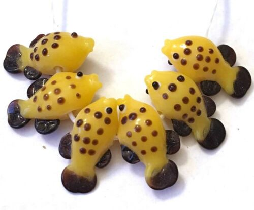 6 Lampwork Handmade Glass Yellow Fish Beads 21x12mm