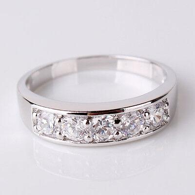 Promise wedding Swarovski crystal 18k white gold filled stunning ring Sz5-Sz9