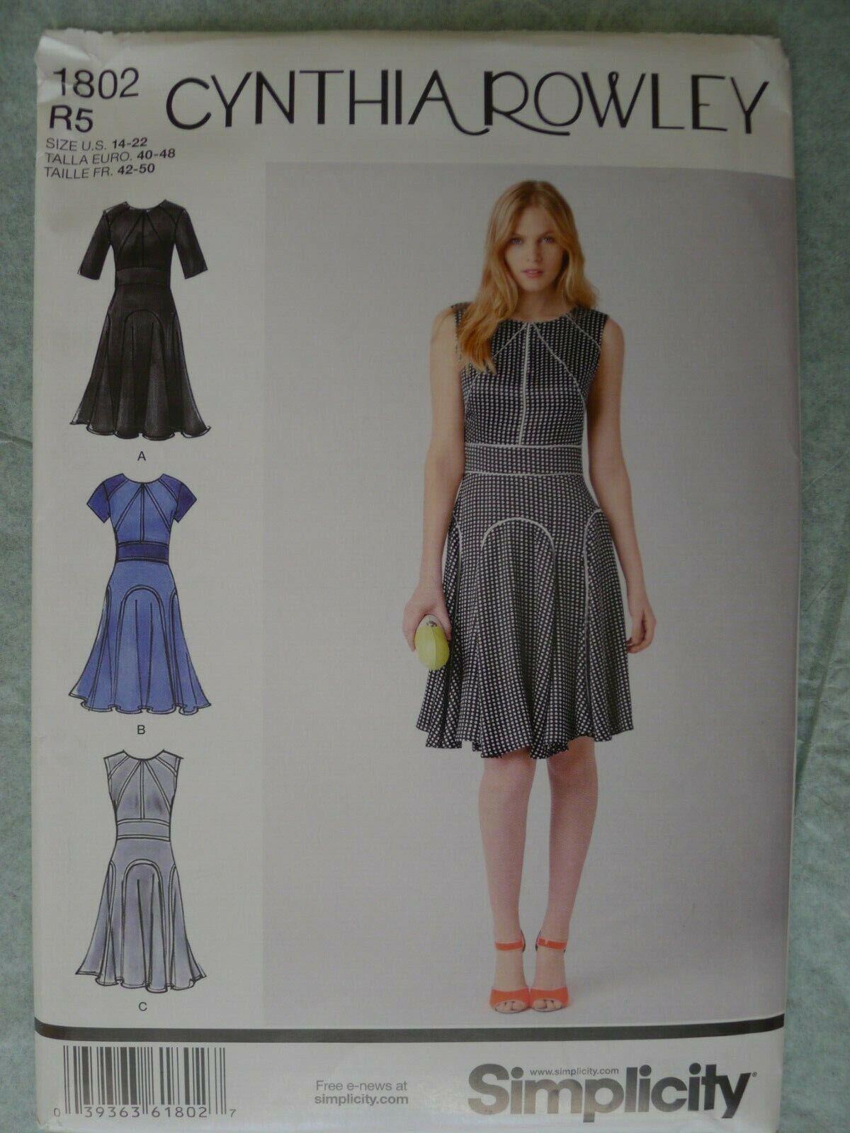 Simplicity Sewing Pattern 1802 Ladies Misses Dress Size 6-14 Uncut