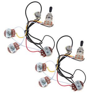 2 sets guitar wiring harness 2 volume 1 tone 500k 3 way toggle switch chrome 634458636476 ebay. Black Bedroom Furniture Sets. Home Design Ideas