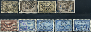 Canada-C1-C9-used-F-VF-VF-1928-1946-Airmail-Issue-Set-loaded-with-CDS-cancels