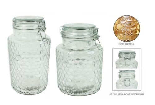 VERRE CLIP TOP Jarre 1.3 l ou 1.9 L Honey Bee DESIGN EN RELIEF 3D Bee Design