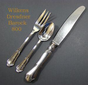 """WILKENS /""""Dresdner Barock/"""" Speisemesser 800er Silber"""