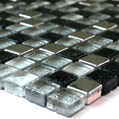 Glass Mosaic Tiles Stainless Steel Black Silver Mix