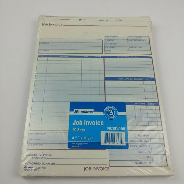 Adams Job Invoices 50 Ct Duplicate System Nc3817 50 For Sale Online
