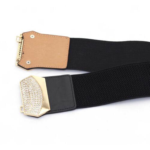 Noir Femmes Extensible Taille Élastique Ceinture 65 mm de large strass Boucle