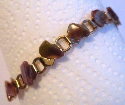 Acquista A Buon Mercato Bracelet Bijou Vintage Couleur Or Maillon Cœur Pierres Naturelles Marrons 3393 Sconto Del 50