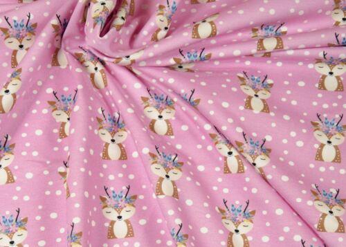 Forest Friends Boho Cerf growidesign Hilco Pink Coton-Jersey Enfants tissu 25 cm