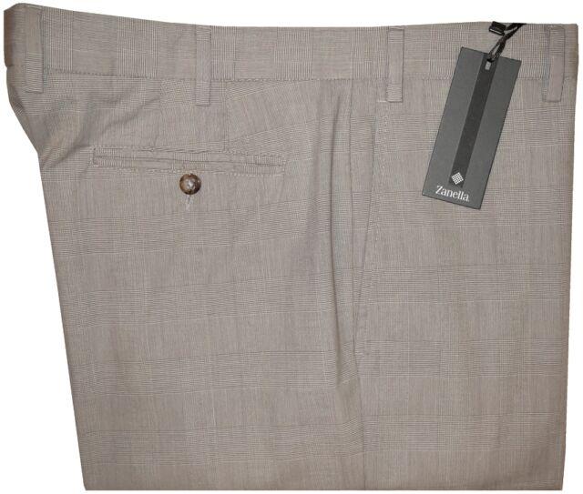 $295 NWT ZANELLA SPRING SUMMER FAINT TAUPE PLAID LIGHT COTTON DRESS PANTS 40