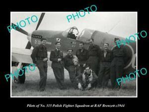 OLD-POSTCARD-SIZE-PHOTO-POLAND-MILITARY-POLISH-FIGHTER-SQUAD-RAF-BRENZETT-1943