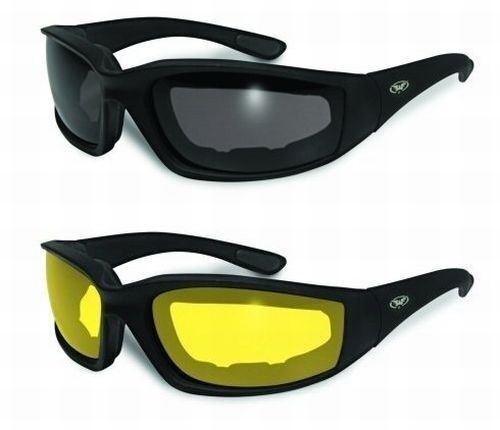 2 Kickback Foam Padded Motorcycle Riding Sunglasses SMOKED /& YELLOW Lenses NEW