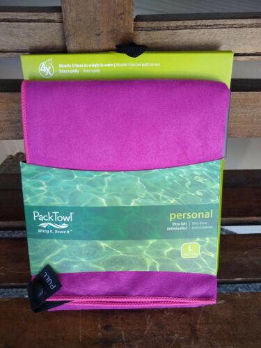 FREE SHIP BRAND NEW PackTowl Personal Microfiber Towel SZ L 16.5 x 36 Inch PINK