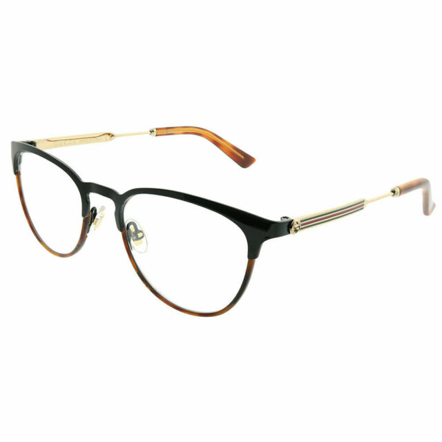 65a8ed5f606 New Authentic Gucci GG0134O 003 Black Brown Metal Round Eyeglasses 52mm