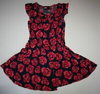 Gap Outlet Dress Size S 6-7 Years Navy With Floral Rose Pattern