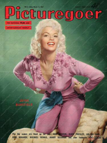 Picture goer 1957 Vintage Film magazine cover poster reproduction.