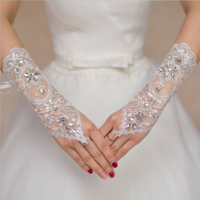 Bride White Gloves Beads Embroidery Beaded Short Wedding Dress ...